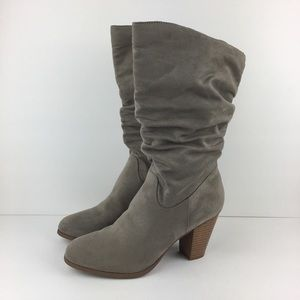 Rampage Tall Gray Slouch Suede Boots